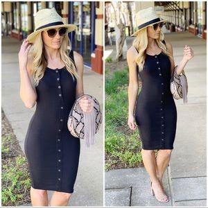 Infinity Raine Dresses - Black Ribbed Button Up Midi Dress
